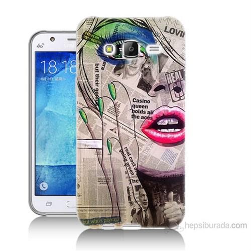 Teknomeg Samsung Galaxy J7 Kapak Kılıf Gazete Kadın Baskılı Silikon