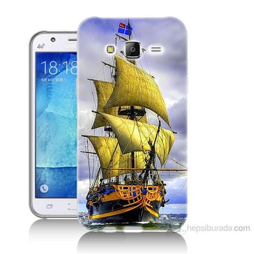 Teknomeg Samsung Galaxy J7 Kapak Kılıf Gemi Baskılı Silikon