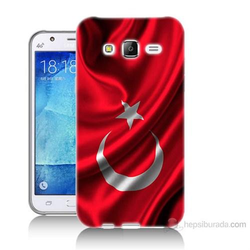 Teknomeg Samsung Galaxy J7 Kapak Kılıf Türkiye Bayrağı Baskılı Silikon