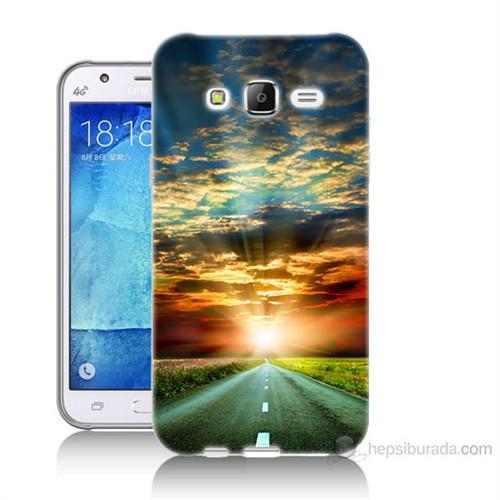 Teknomeg Samsung Galaxy J7 Kapak Kılıf Yol Baskılı Silikon