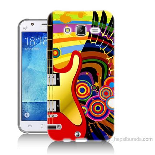Teknomeg Samsung Galaxy J7 Kapak Kılıf Renkli Gitar Baskılı Silikon