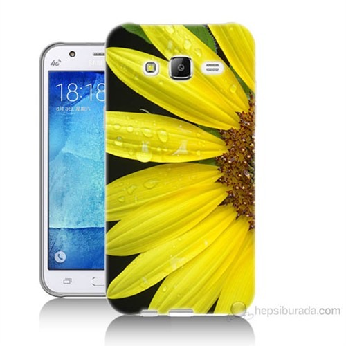 Teknomeg Samsung Galaxy J7 Kapak Kılıf Sarı Çiçek Baskılı Silikon