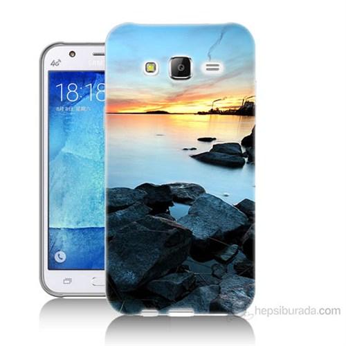 Teknomeg Samsung Galaxy J7 Kapak Kılıf Kayalık Baskılı Silikon