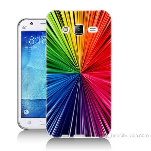 Teknomeg Samsung Galaxy J7 Kapak Kılıf Renkler Baskılı Silikon