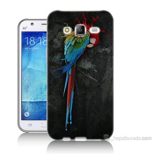 Teknomeg Samsung Galaxy J7 Kapak Kılıf Papağan Baskılı Silikon