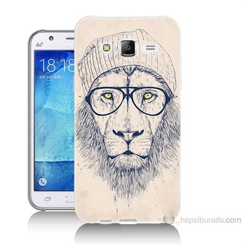 Teknomeg Samsung Galaxy J5 Kılıf Kapak Gözlüklü Aslan Baskılı Silikon