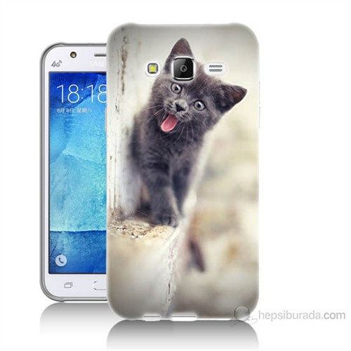 Teknomeg Samsung Galaxy J5 Kapak Kılıf Haylaz Kedi Baskılı Silikon
