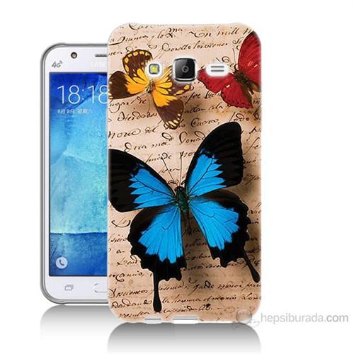 Teknomeg Samsung Galaxy J5 Kapak Kılıf Kelebek Baskılı Silikon