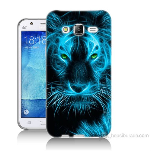 Teknomeg Samsung Galaxy J5 Kapak Kılıf Mavi Kaplan Baskılı Silikon