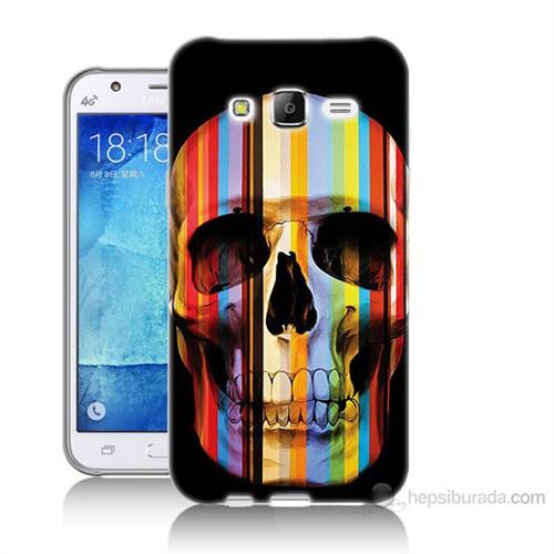 Teknomeg Samsung Galaxy J5 Kapak Kılıf Renkli Kurukafa Baskılı Silikon