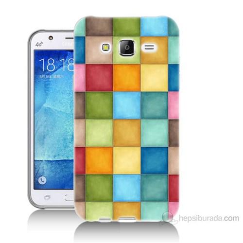 Teknomeg Samsung Galaxy J5 Kapak Kılıf Renkli Kareler Baskılı Silikon
