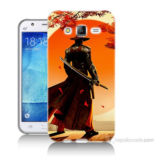 Teknomeg Samsung Galaxy J5 Kapak Kılıf Red Steel Baskılı Silikon