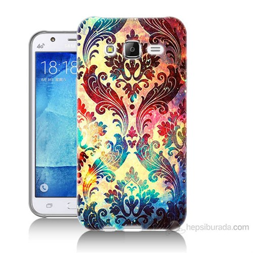 Teknomeg Samsung Galaxy J5 Kapak Kılıf Çiçek Motifi Baskılı Silikon