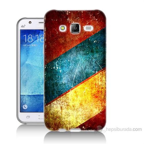 Teknomeg Samsung Galaxy J5 Kapak Kılıf Renkli Metal Baskılı Silikon