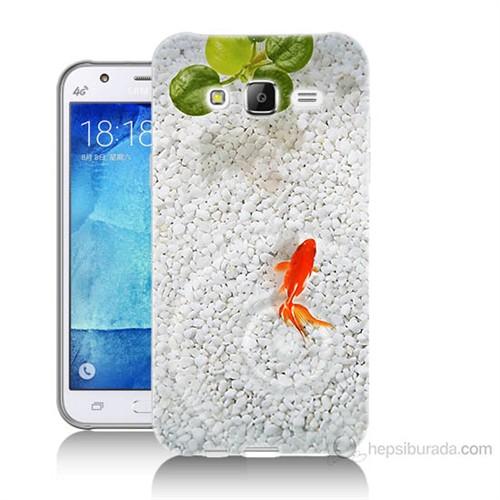 Teknomeg Samsung Galaxy J5 Kapak Kılıf Kırmızı Balık Baskılı Silikon