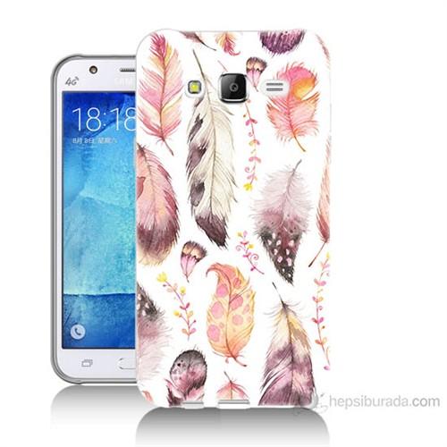 Teknomeg Samsung Galaxy J5 Kapak Kılıf Renkli Tüyler Baskılı Silikon
