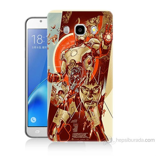 Teknomeg Samsung Galaxy J5 2016 Kapak Kılıf İron Man Afiş Baskılı Silikon