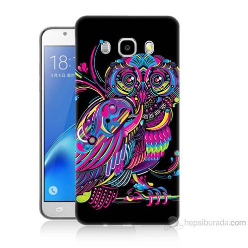 Teknomeg Samsung Galaxy J5 2016 Kapak Kılıf Renkli Baykuş Baskılı Silikon