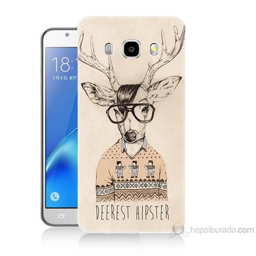 Teknomeg Samsung Galaxy J5 2016 Kapak Kılıf Gözlüklü Geyik Baskılı Silikon