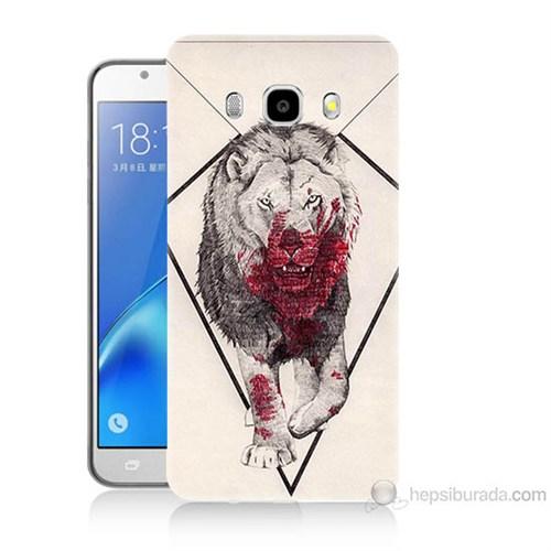 Teknomeg Samsung Galaxy J5 2016 Kapak Kılıf Kanlı Aslan Baskılı Silikon