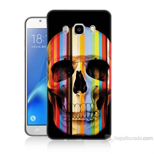 Teknomeg Samsung Galaxy J5 2016 Kapak Kılıf Renkli Kurukafa Baskılı Silikon
