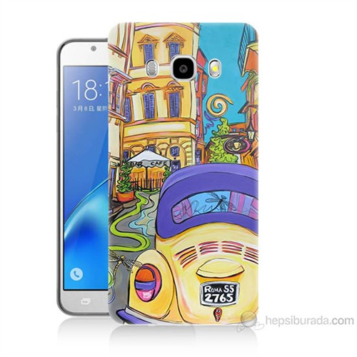 Teknomeg Samsung Galaxy J5 2016 Kapak Kılıf Sarı Wolsvagen Baskılı Silikon