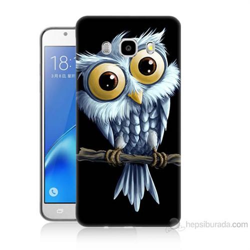 Teknomeg Samsung Galaxy J5 2016 Kapak Kılıf Beyaz Baykuş Baskılı Silikon