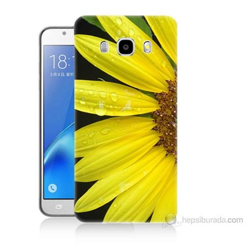 Teknomeg Samsung Galaxy J5 2016 Kapak Kılıf Sarı Çiçek Baskılı Silikon