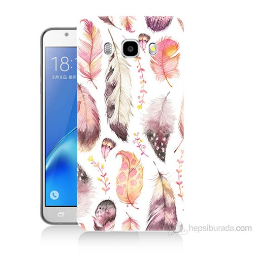 Teknomeg Samsung Galaxy J5 2016 Kapak Kılıf Renkli Tüyler Baskılı Silikon