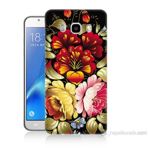 Teknomeg Samsung Galaxy J7 2016 Kılıf Kapak Çiçekler Baskılı Silikon