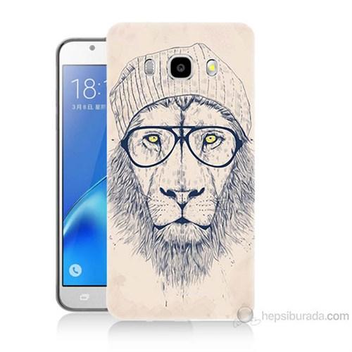 Teknomeg Samsung Galaxy J7 2016 Kılıf Kapak Gözlüklü Aslan Baskılı Silikon