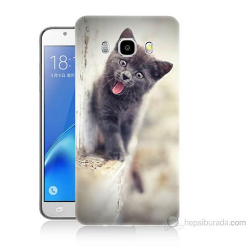 Teknomeg Samsung Galaxy J7 2016 Kapak Kılıf Haylaz Kedi Baskılı Silikon