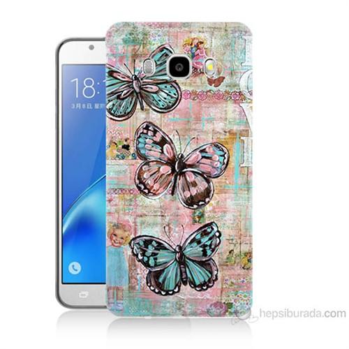 Teknomeg Samsung Galaxy J7 2016 Kapak Kılıf Kelebek Love Baskılı Silikon