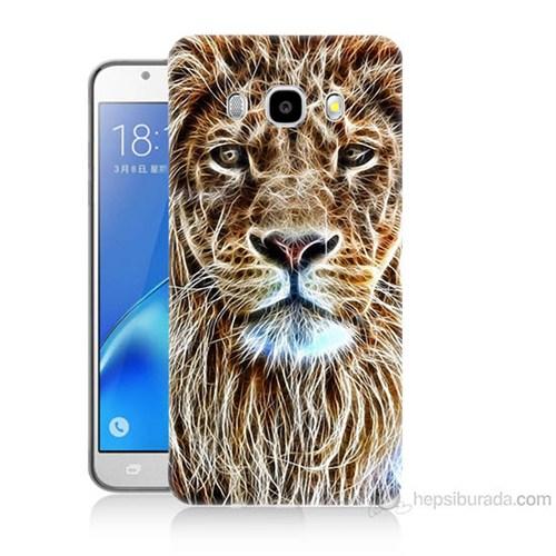 Teknomeg Samsung Galaxy J7 2016 Kapak Kılıf Aslan Yüzü Baskılı Silikon