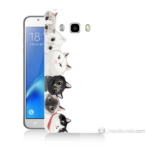 Teknomeg Samsung Galaxy J7 2016 Kapak Kılıf Kediler Baskılı Silikon