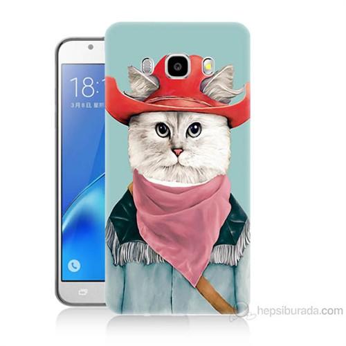 Teknomeg Samsung Galaxy J7 2016 Kapak Kılıf Çizmeli Kedi Baskılı Silikon