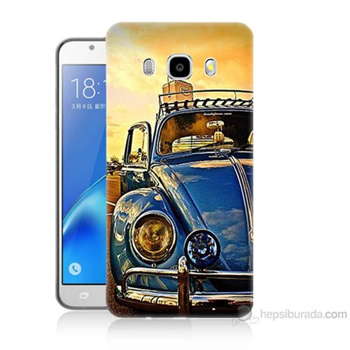 Teknomeg Samsung Galaxy J7 2016 Kapak Kılıf Mavi Vosvos Baskılı Silikon