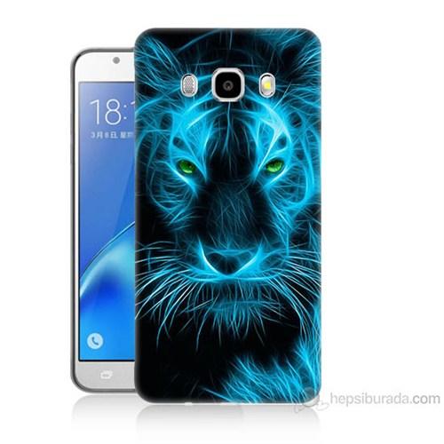 Teknomeg Samsung Galaxy J7 2016 Kapak Kılıf Mavi Kaplan Baskılı Silikon