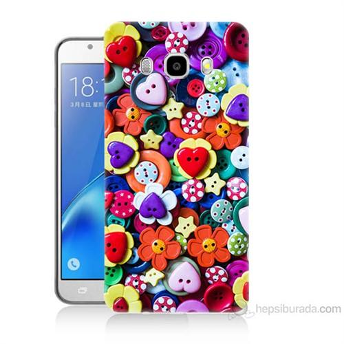 Teknomeg Samsung Galaxy J7 2016 Kapak Kılıf Düğmeler Baskılı Silikon