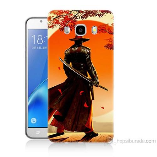Teknomeg Samsung Galaxy J7 2016 Kapak Kılıf Red Steel Baskılı Silikon
