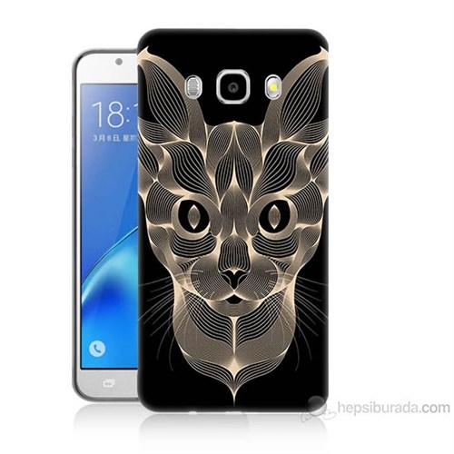 Teknomeg Samsung Galaxy J7 2016 Kapak Kılıf Digital Kedi Baskılı Silikon