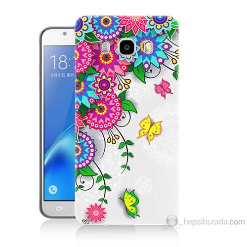 Teknomeg Samsung Galaxy J7 2016 Kapak Kılıf Çiçek Ve Kelebek Baskılı Silikon