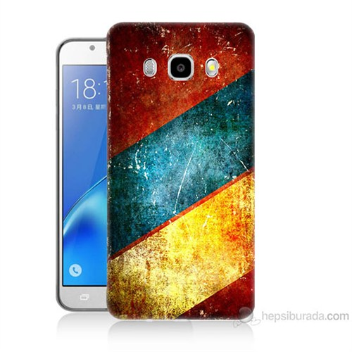 Teknomeg Samsung Galaxy J7 2016 Kapak Kılıf Renkli Metal Baskılı Silikon