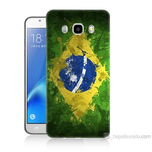 Teknomeg Samsung Galaxy J7 2016 Kapak Kılıf Birezilya Bayrak Baskılı Silikon