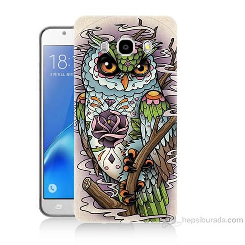 Teknomeg Samsung Galaxy J7 2016 Kapak Kılıf Çiçekli Baykuş Baskılı Silikon