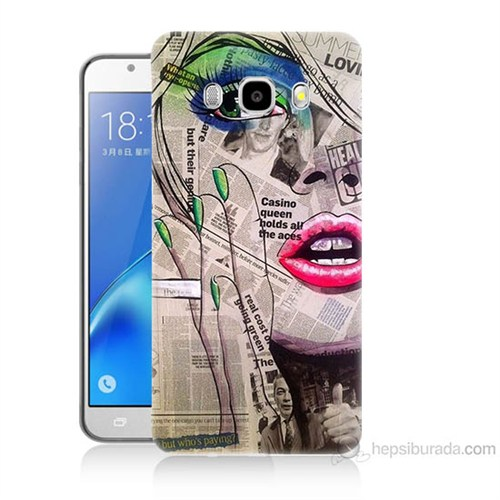 Teknomeg Samsung Galaxy J7 2016 Kapak Kılıf Gazete Kadın Baskılı Silikon