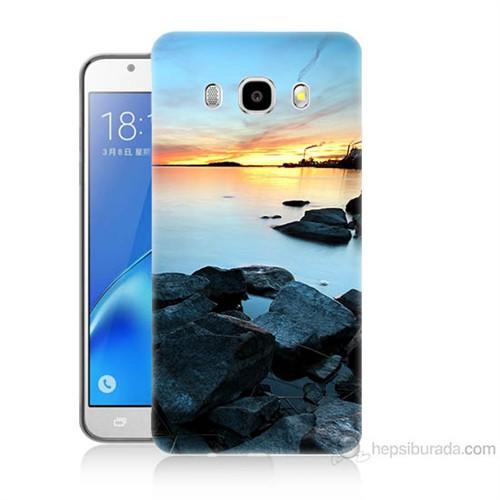 Teknomeg Samsung Galaxy J7 2016 Kapak Kılıf Kayalık Baskılı Silikon