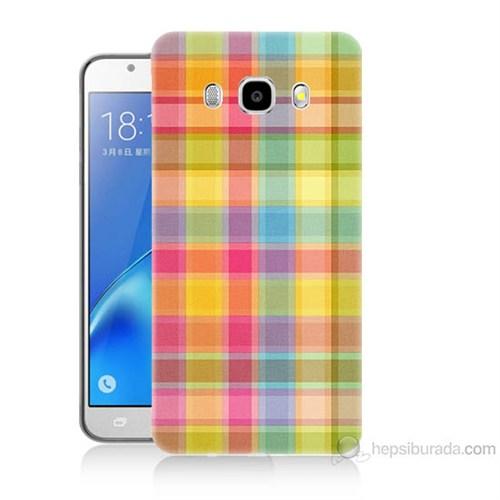 Teknomeg Samsung Galaxy J7 2016 Kapak Kılıf Ekose Baskılı Silikon