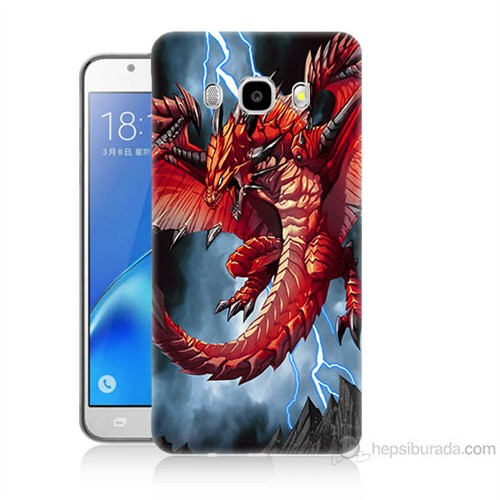 Teknomeg Samsung Galaxy J7 2016 Kapak Kılıf Dragon Baskılı Silikon