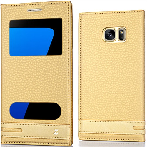 Coverzone Samsung Galaxy S7 Kılıf Çift Pencereli Elite + Kırılmaz Cam